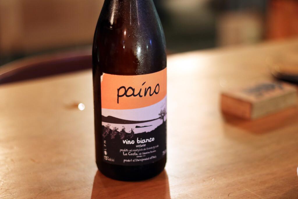 イタリアのオレンジワインのボトル