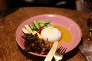 台湾のブッラータチーズと焼き野菜を使った一皿