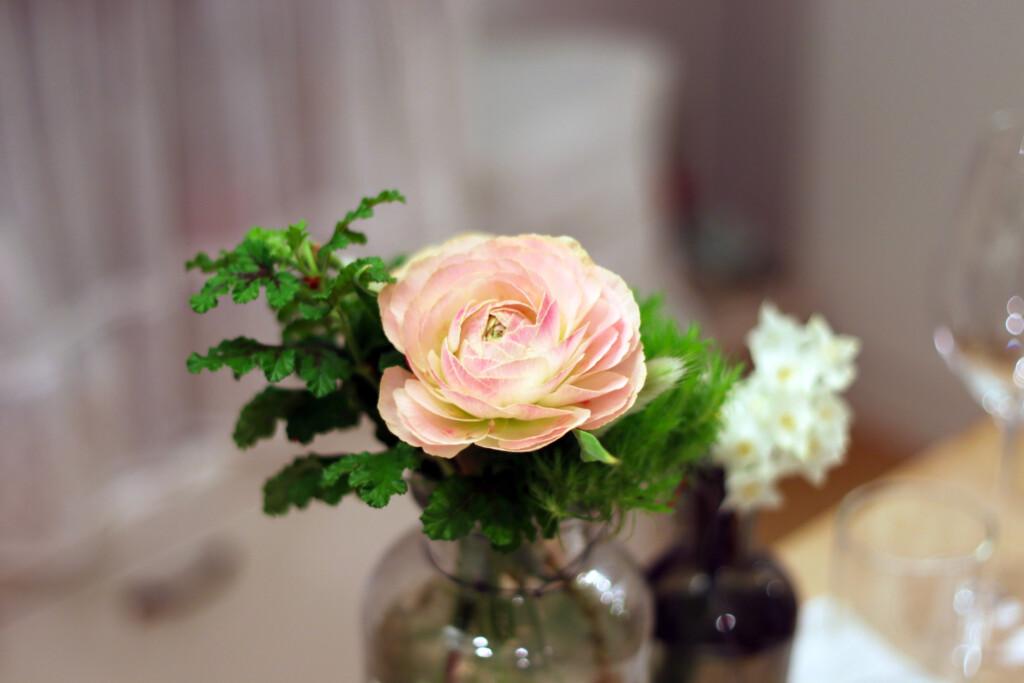 花瓶に飾られたピンク色のラナンキュラス